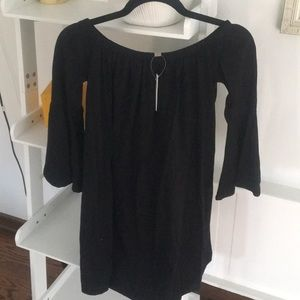 Black off shoulder mini dress with trumpet sleeves